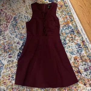 Cranberry Dress with Lace Up Front